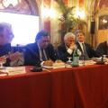 Il sindaco di Palermo, Leoluca Orlando, tra Renato Accorinti e il ministro dell'Ambiente, Gian Luca Galletti