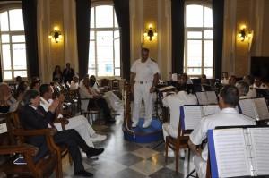 Il Comandante Marittimo Sicilia, Contrammiraglio Nicola De Felice, durante uno degli eventi della Festa, la sua Lectio Magistralis all'Università